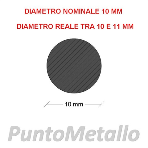 TONDO NYLON PA6 DIAMETRO NOMINALE 10 MM COL. NERO