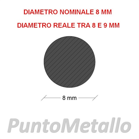 TONDO NYLON PA6 DIAMETRO NOMINALE 8 MM COL. BIANCO