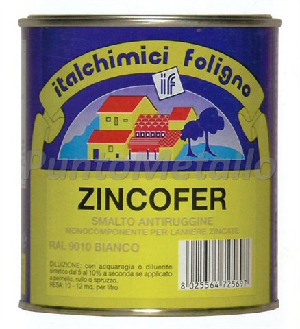 ZINCOFER - SMALTO ANTIRUGGINE PER LAMIERE ZINCATE ML 750 COL. BIANCO